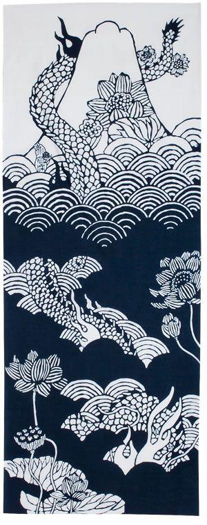 Dark blue fujimi dragon tenugui by Mitsuko Ogura