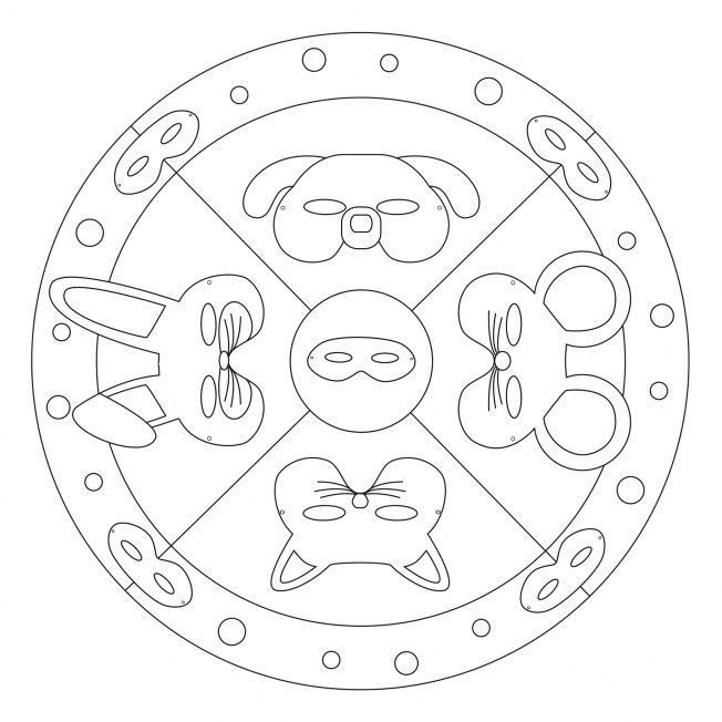 Tiermasken-Mandala