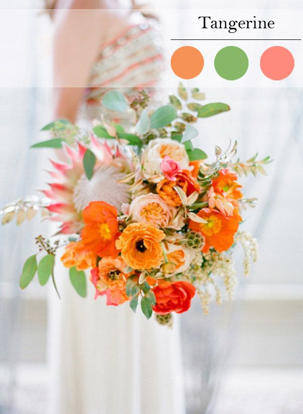 sweet tangerine orange wedding bouquet for spring wedding color ideas 2015