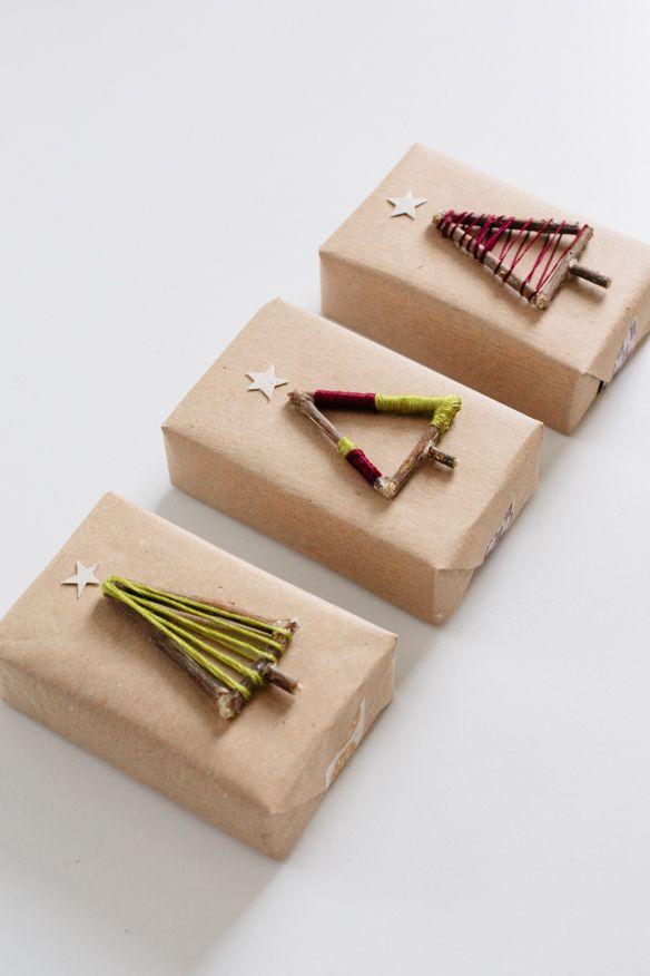 DIY Twig Christmas Tree Gift Topper