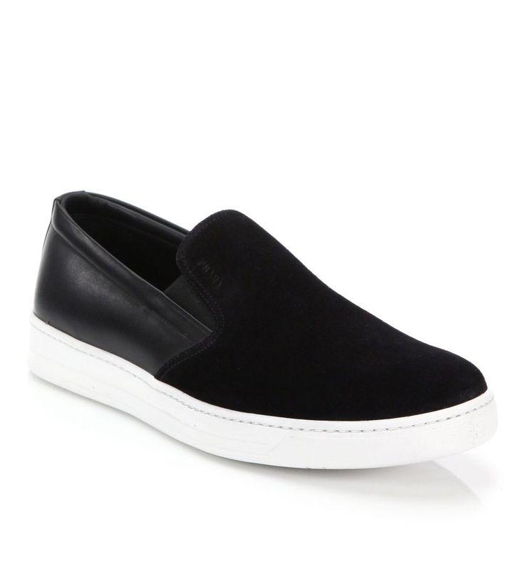 Prada Mixed-Media Leather & Suede Slip-On Sneakers Black        $119.00