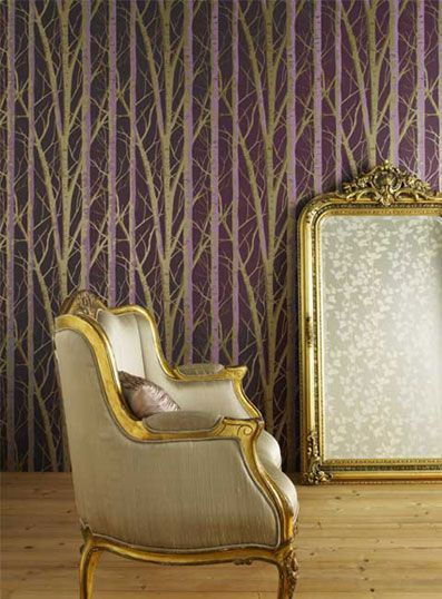 gold and purple themed room