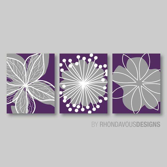 Purple Flower Print Trio - Home Petals Bloom Wall Art Bedroom Nursery Bathroom Bath Dining - You Pick the Size & Colors (NS-349)