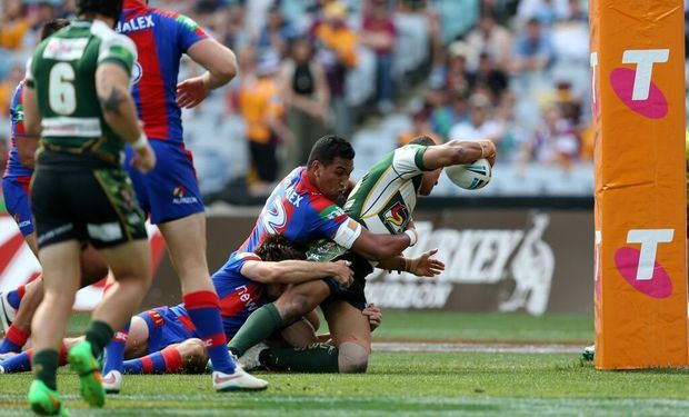 Ipswich Jets powerhouse Billy McConnachie scores the second try for his team in today's NRL State Championship grand final.