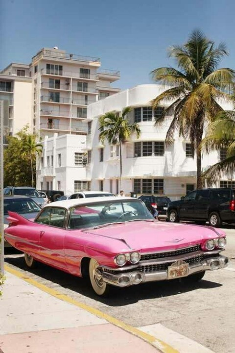 pink old classic car miami south beach classic cars pinterest vintage cars car and. Black Bedroom Furniture Sets. Home Design Ideas