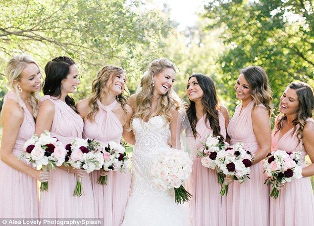 'In honor of the most beautiful bride to be!': Andi Dorfman (right of Nikki) competed on the same season of The Bachelor with Nikki and went on to become The Bachelorette, was among the six bridesmaids, who wore flowing pale pink dresses