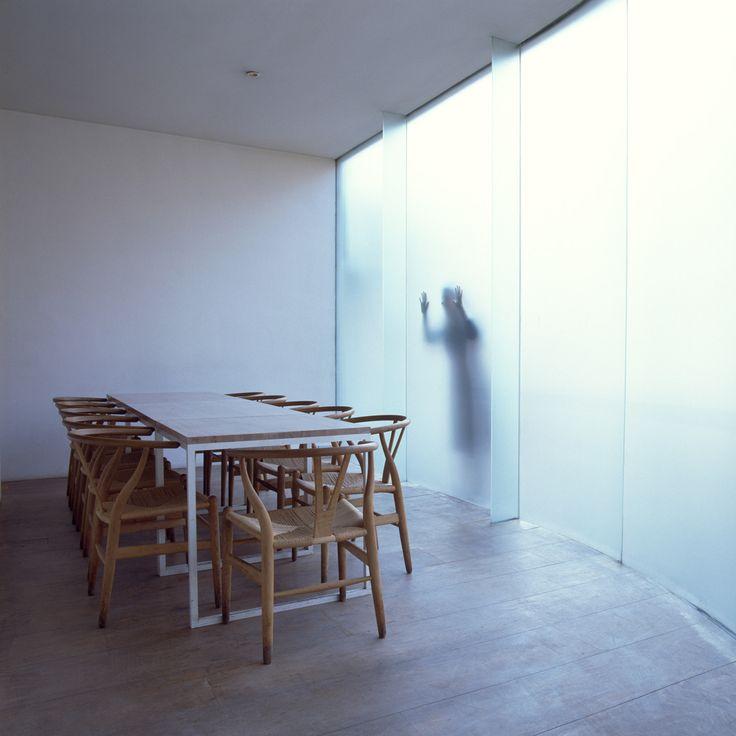 interior by John Pawson - Wakaba Restaurant, London. Hans J. Wegner wishbone chair, A.G. Fronzoni table for cappellini, frosted glass. minimalist interior