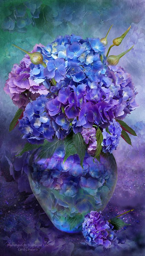 Hydrangeas In Hydrangea Vase by Carol Cavalaris - Hydrangeas In Hydrangea Vase Mixed Media - Hydrangeas In Hydrangea Vase Fine Art Prints and Posters for Sale
