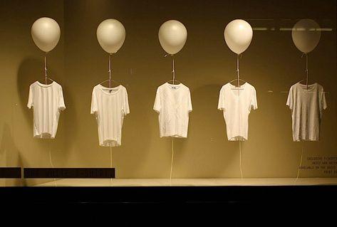 Cool simplistic t-shirt window display                                                                                                                                                     More