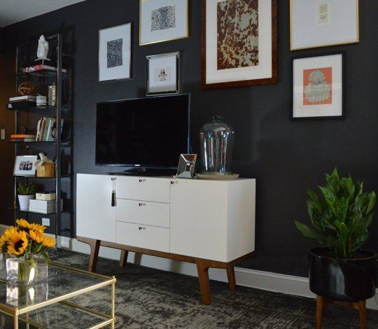 Before & After: Timothy's Deep Charcoal Living Room — The Big Reveal Room Makeover Contest 2015