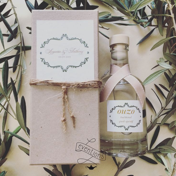 Custom made wedding gift with greek ouzo. Custom made graphic design. Wedding planning in Rhodes, Greece