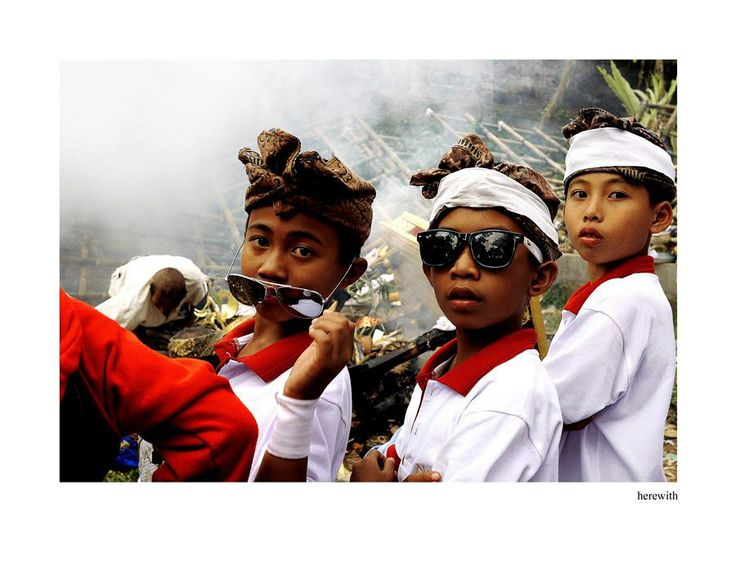 During balinese mass cremation ceremony.