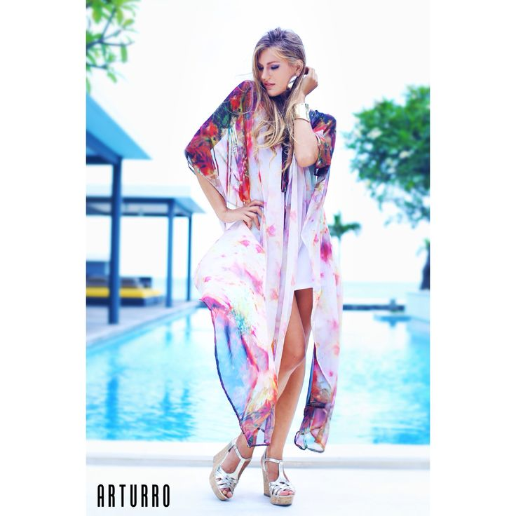 ARTURRO Resort Collection-Flowery Printed Kaftan Available at ARTURRO Boutique Jl. Kayu Aya no 18 Oberoi & Made's Warung Seminyak Bali Indonesia, #arturroeggo #kaftan #caftan #resortwear #printedkaftan #womansfashion #womansclothing #beachwear