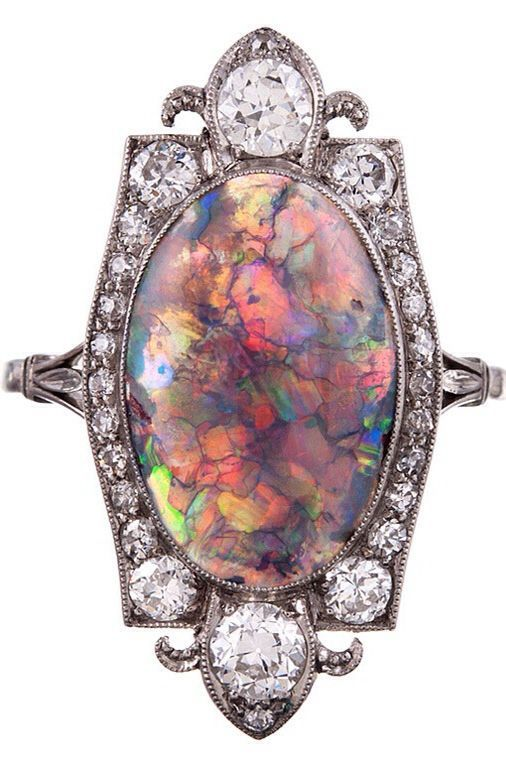 Art Deco Opal & Diamond Ring, ca 1925