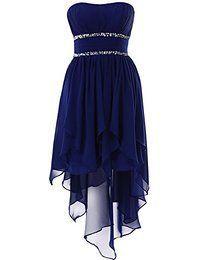 YiYaDawn Asymmetrische Ballkleid Abendkleid Vokuhila Kleid für Damen