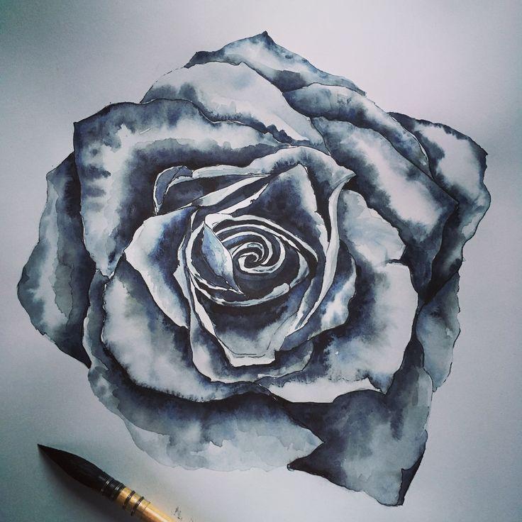 Dessin d'une rose à l'aquarelle et encre