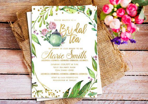 Brunch greenery bridal tea invitation, green tea invitation, tea party 7x5 invitation, Teacup Invitation, Greenery gold invite, Bridal party