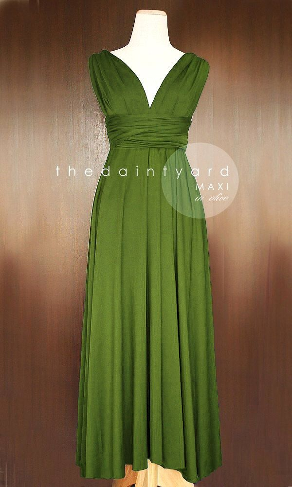 MAXI Olive Bridesmaid Convertible Infinity by thedaintyard on Etsy, $48.00
