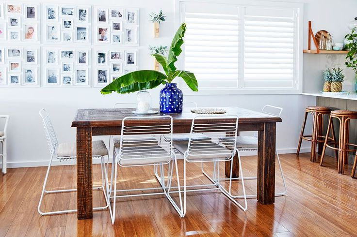 """White plantation shutters go with the coastal Hamptons look I wanted to create – and keep the summer sun out,"" says Anna."