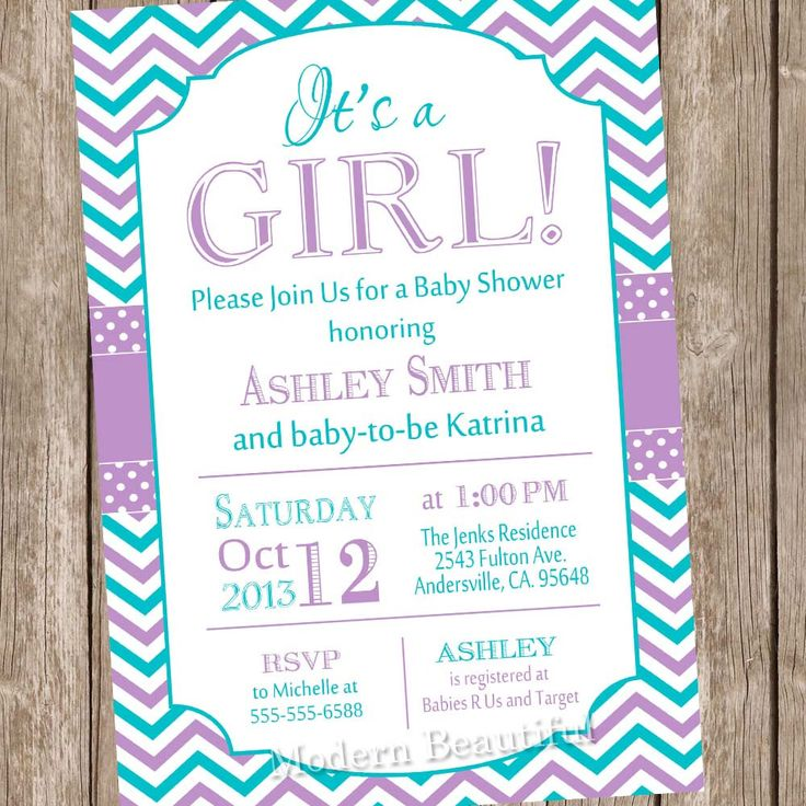 Itu0027s A Girl Baby Shower Invitation,purple, Teal, Chevron Baby Shower  Invitation, Typography, Chevron, Printable Invitation