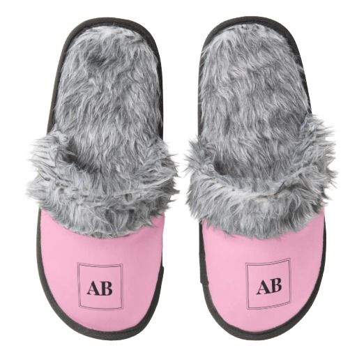 Carmation pink solid color with monogram pair of fuzzy slippers