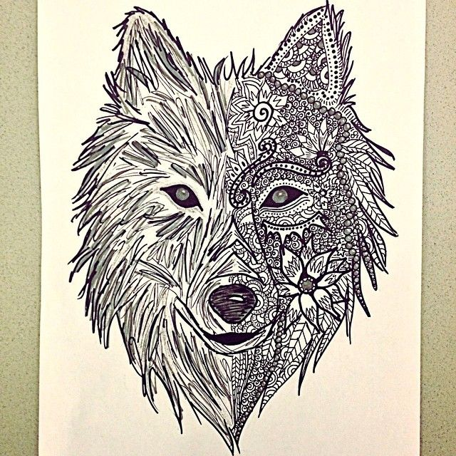 Zentangle wolf drawing pesquisa do google coloring for for Art drawing ideas for adults