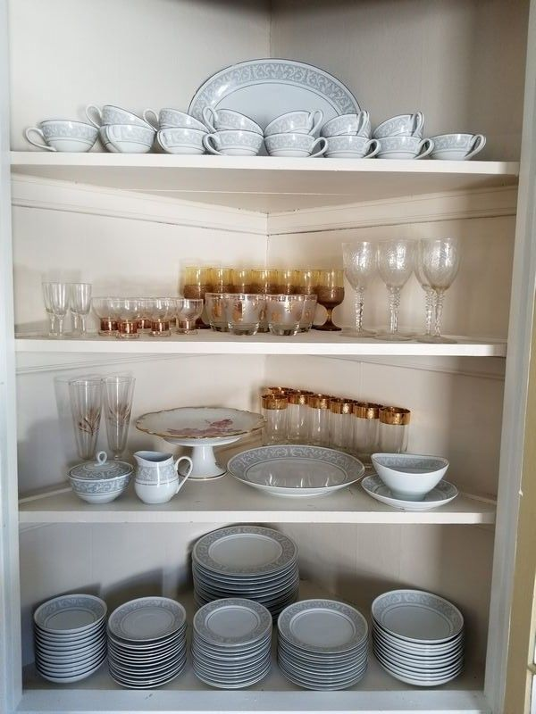 """Vintage china and glass featuring W. Dalton collection, Whitney 5671 pattern, incomplete serv/11-14 incl 1'diam serving platter, oval plate 16.5""""Lx12""""W (chipped edge), other serv pcs (incl sugar bowl with damage); Schumann Arzberg German pedestal cake dish 11.5""""diam x 5""""H; assort of vintage crystal and glass sets."""
