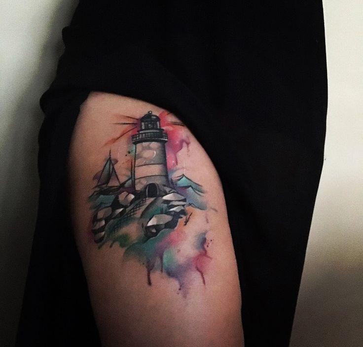 Tatuaje de faro y velero en boceto y acuarelas. Diseño Carolina Loveink Tattoo