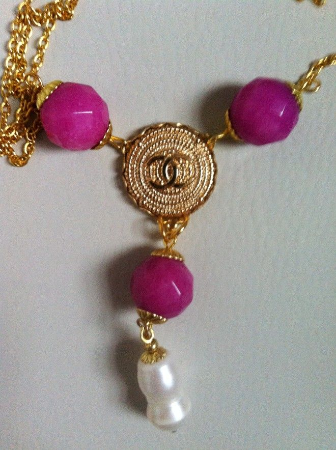 HANDMADE 97 - necklace giada fuxia - bottone logo