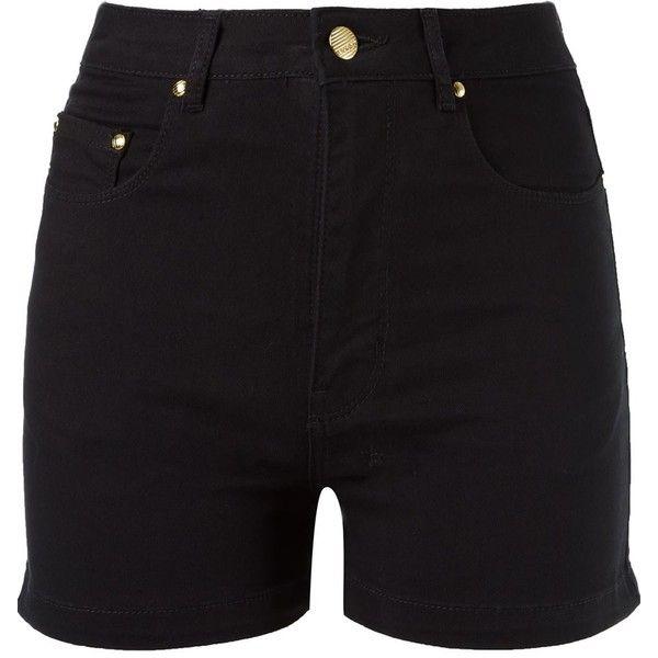 Amapô high waist denim shorts (340 AUD) ❤ liked on Polyvore featuring shorts, black, high waisted denim shorts, high-rise shorts, highwaist shorts, denim shorts and short denim shorts