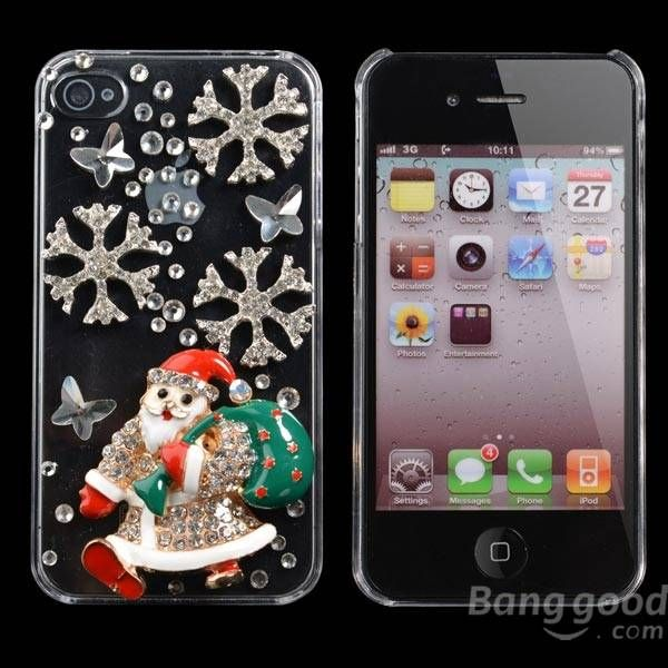 Father Christmas Shape Handmade Bling Case Cover For iPhone 4 4S…