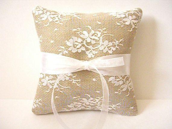 Burlap And Lace Ring Bearer Pillow - Rustic Wedding Pillow - Burlap Ring Pillow - Lace Ring Pillow - Wedding Pillow - Satin And Lace Pillow