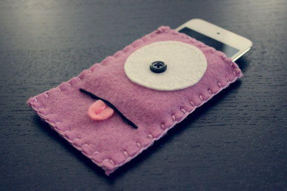 Felt Monster Phone or iPod Sock/Cover by BABUA  Lilac by babua, $10.00