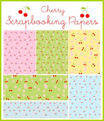 free printable cherries and cherry blossoms scrapbooking and wrapping papers