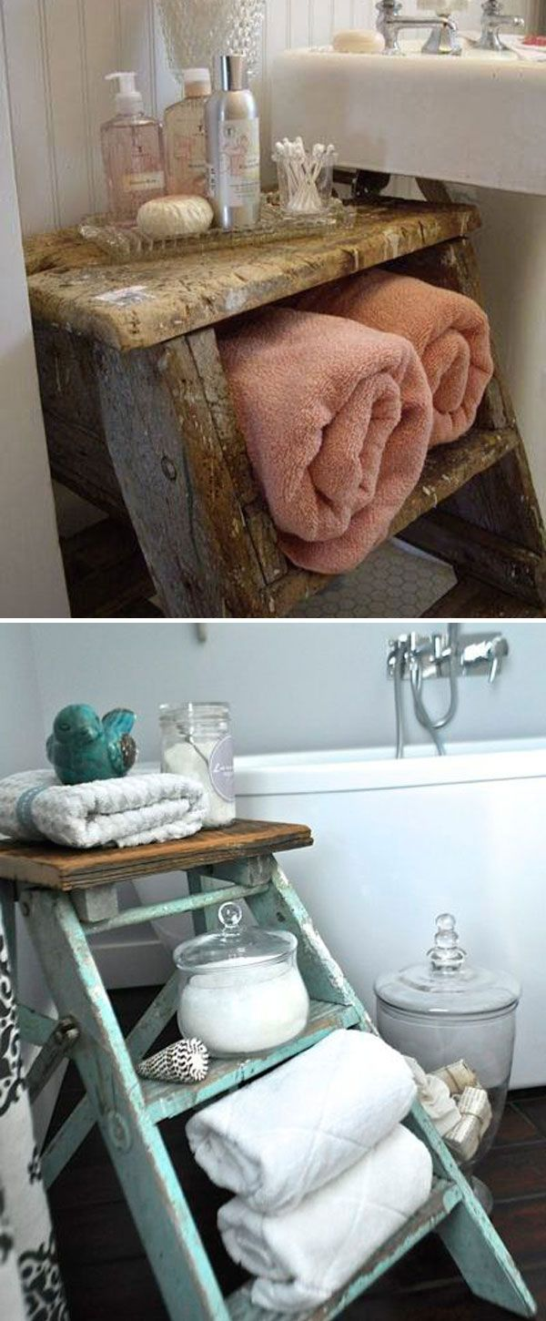 Old ladder not only be a storage shelf, it also add rustic charming to your bathroom