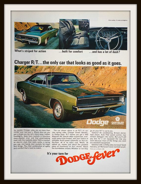 1968 Dodge Charger R/T Advertisement. Vintage by vintageadsnprints