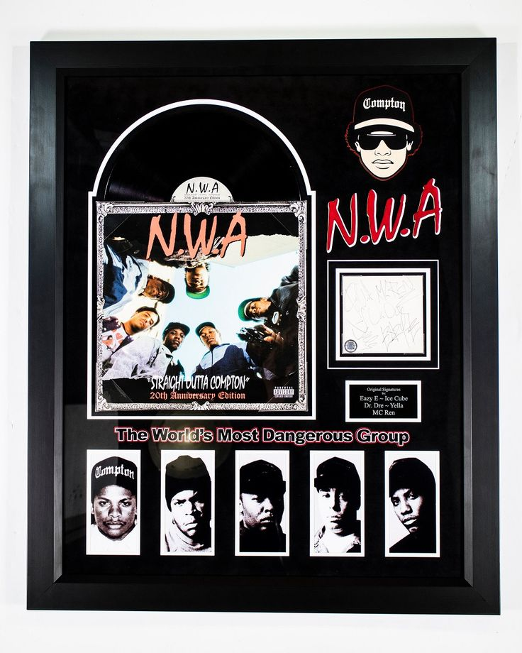 N.W.A. Straight Outta Compton Signed Album - Custom Wood Framed