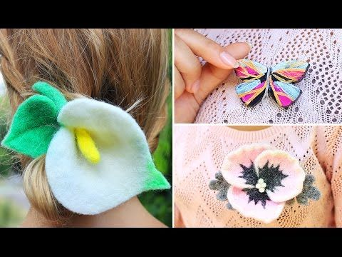 This time we'll  make stunning felt flowers accessories and a polymer clay butterfly brooch. Our amazing handmade bijouterie will help you to be bright and stylish every day! #accessories #jewelry #felting