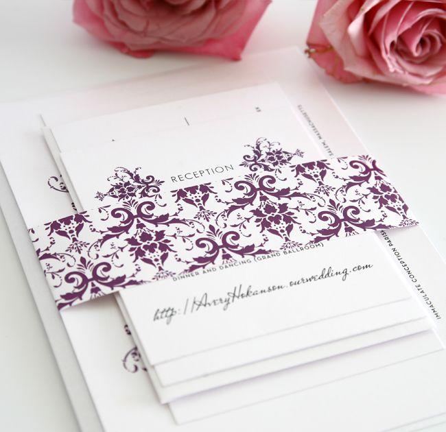 Purple damask wedding invitations