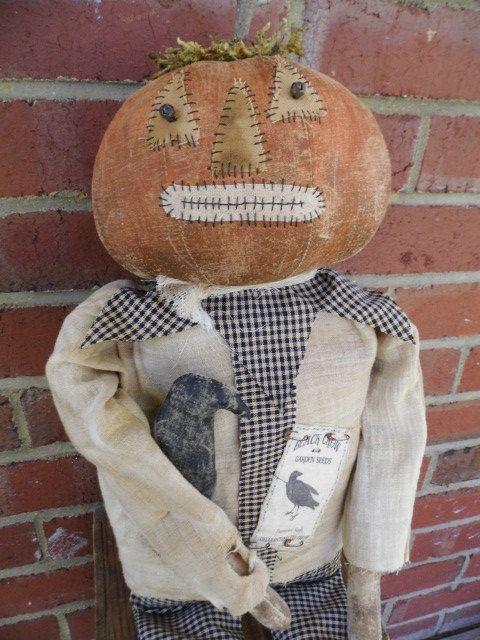 Primitive Pumpkin Man Doll and Crow Fall by PrimitiveBlackHat
