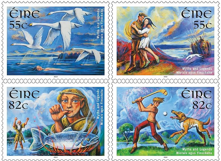 An Post issued four stamps depicting Irish Myths and Legends in 2012. They feature The Children of Lir, Deirdre of the Sorrows, Fionn Mac Cumhaill and Cú Chulainn. By Fergus Lyons
