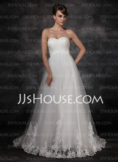 Wedding Dresses - $189.99 - Empire Sweetheart Court Train Satin Tulle Wedding Dress With Lace (002017117) http://jjshouse.com/Empire-Sweetheart-Court-Train-Satin-Tulle-Wedding-Dress-With-Lace-002017117-g17117