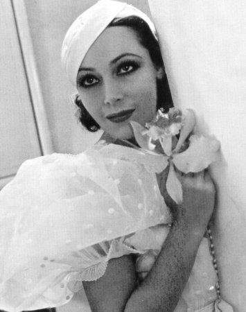 "Dolores del Río, in ""Flying down to Rio"". 1955. Dress by Irene."