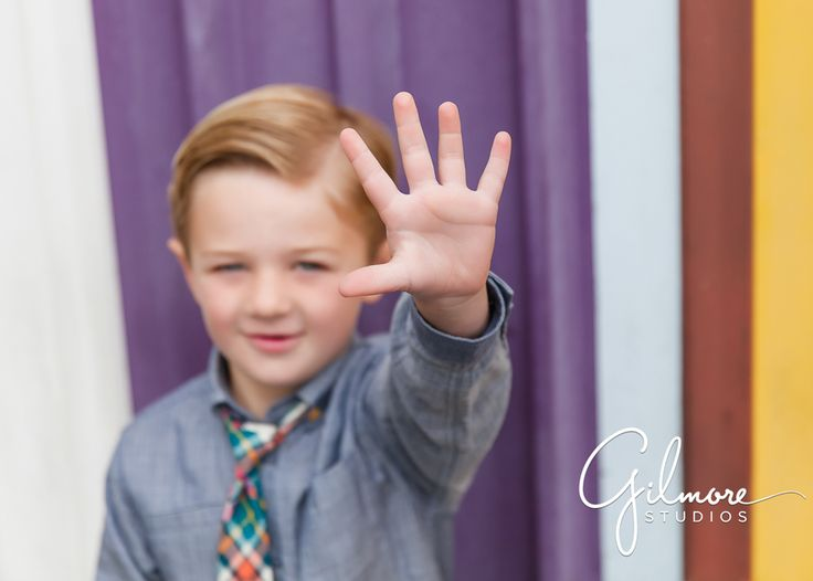 """5 Year Old Boy """"My Favorite Things"""" Portrait Session at The Lab - Costa Mesa, CA, Cali, California, The Lab, Colorful Background, Adorable, Five, Checkered Tie, Boy GilmoreStudios.com"""