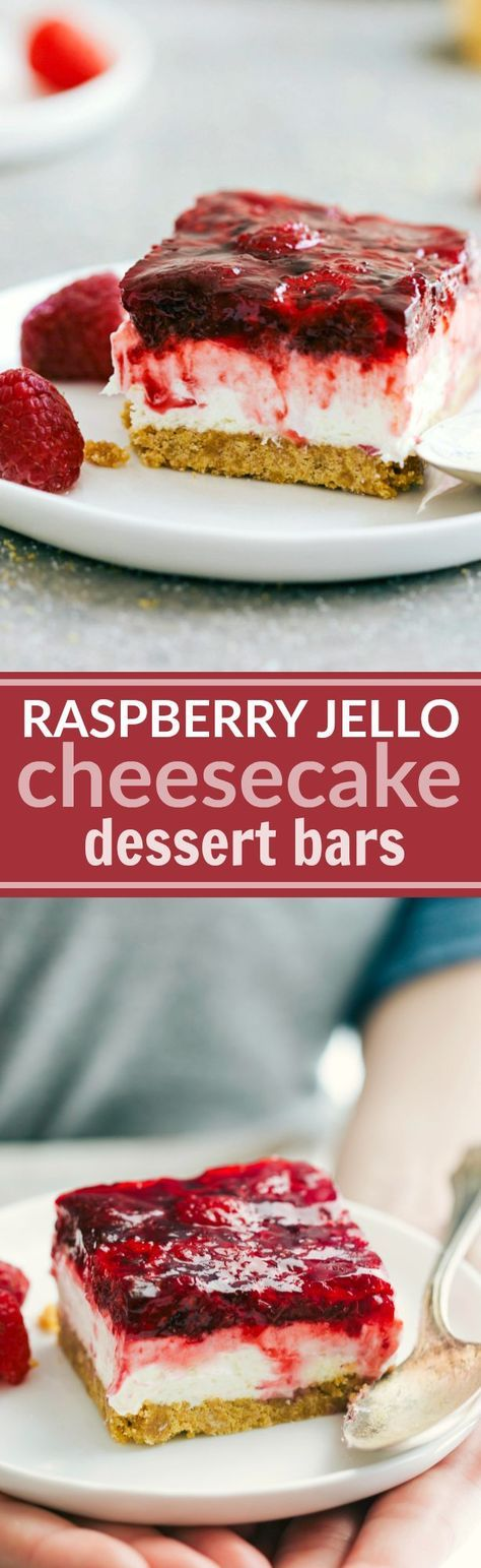 The ultimate BEST EVER Raspberry Jell-o Cheesecake Bars -- easy, delicious, and perfect for a party/potluck. Recipe via chelseasmessyapron.com