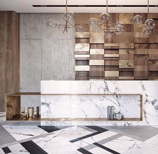 marble and brass combination