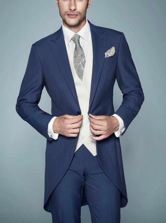 New Arrivalc Morning Stylish Peak Lapel Navy Blue Tailcoat Groom Tuxedos Haut Men'S Wedding Dress Prom ClothingJacket+Pants+Tie+Vest661 Wedding Suit For Men Wedding Suits For Groom From Good Happy, $73.3| Dhgate.Com