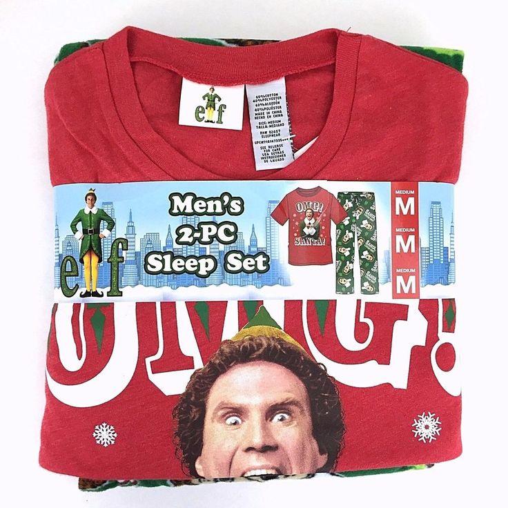 Elf 2 Piece Sleep Pajama Set Medium OMG Santa T Shirt Fleece Pants Christmas #BrieflyStated #PajamaSets