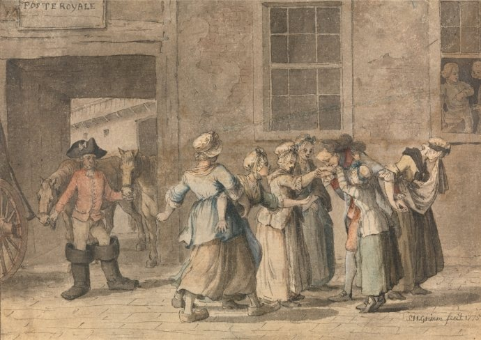 Departure from a French Inn, Grimm 1775. Stripped shortgown/bedgown.