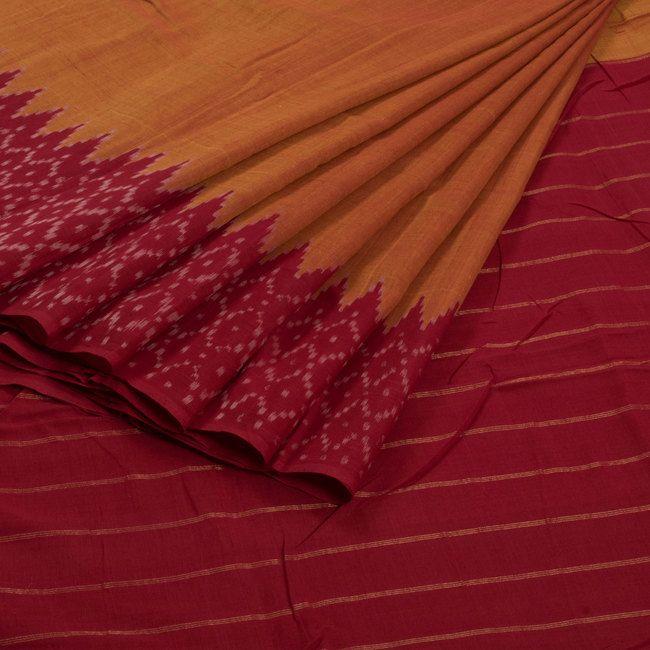 Sarveshi Handwoven Ikat Cotton Saree with Striped Pallu 10007261 - AVISHYA